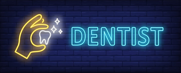 Dentist neon text with hand holding glowing tooth Free Vector