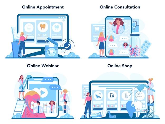 歯科医の職業オンラインサービスまたはプラットフォームセット。歯科医は医療機器を使用して歯を治療します。 Premiumベクター