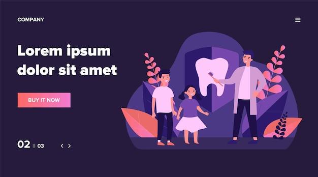 歯を磨くように子供たちを教える歯科医。子供、歯科矯正医、クリニックのイラスト。啓発の日、バナー、ウェブサイトまたはランディングウェブページの歯科治療の概念 Premiumベクター