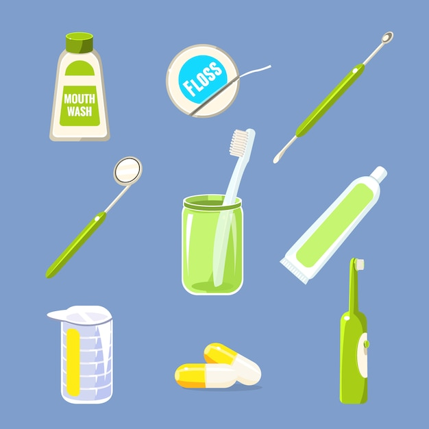 Dentist and teeth care collection Premium Vector