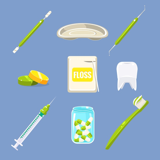 Dentist and teeth care set Premium Vector
