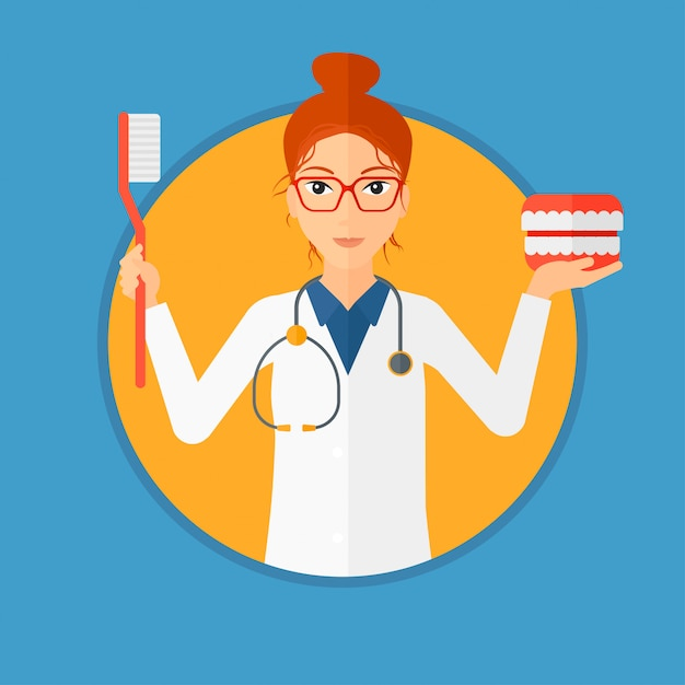 Dentist with dental jaw model and toothbrush. Premium Vector