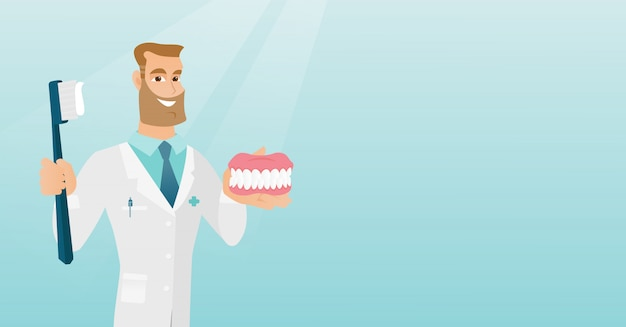 Dentist with a dental jaw model and a toothbrush. Premium Vector