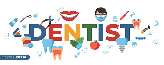 Dentistry and healthcare icons Premium Vector