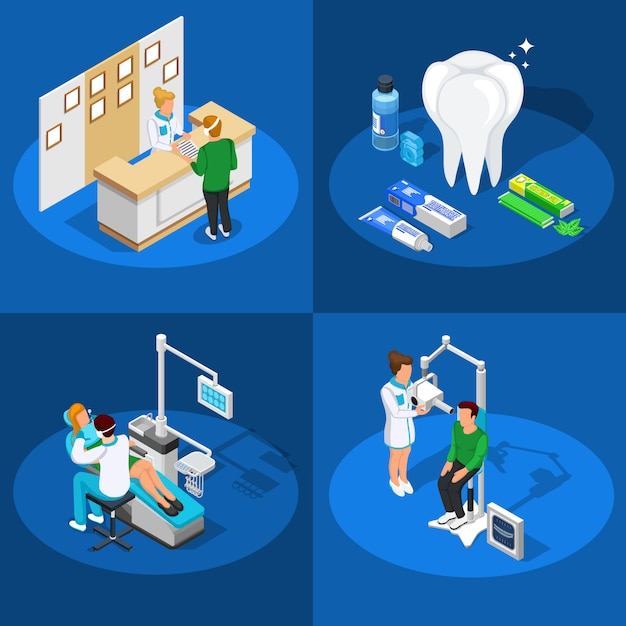 Dentistry isometric design concept Free Vector