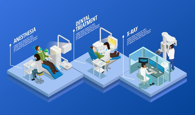 Dentistry isometric template Free Vector
