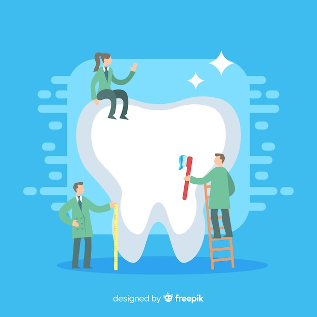 Dentists cleaning a giant tooth | Free Vector