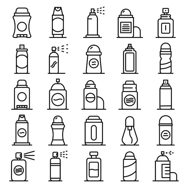 Deodorant icons set, outline style Premium Vector