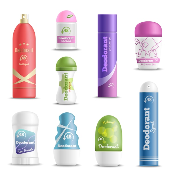 Deodorants spray sticks realistic set Free Vector