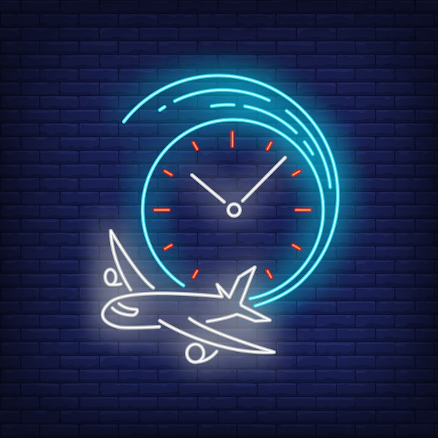 Departing time neon sign Free Vector