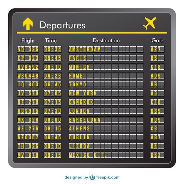 flight schedule template - departure board vector vector free download