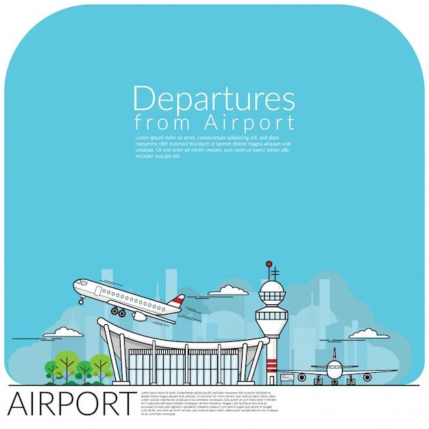 Departures from airport Premium Vector