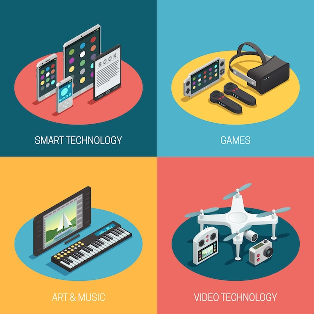 Depicting different gadgets smart technology games art music video Free Vector