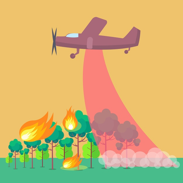 Depicting plane putting out forest fire illustration Premium Vector