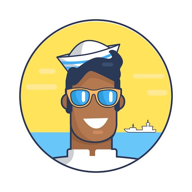 Depicting sailor against sea illustration Premium Vector