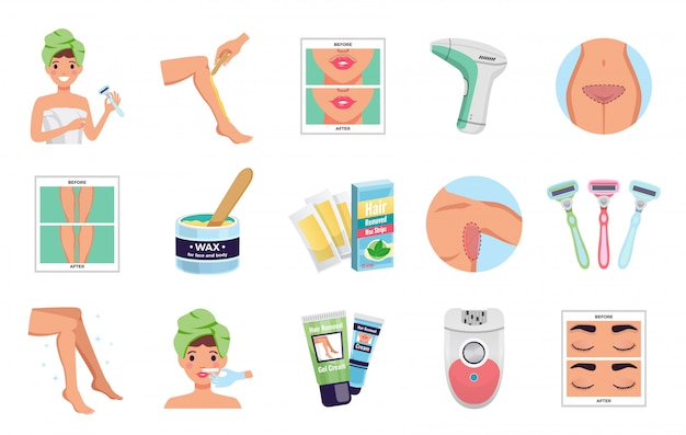 Depilation icons set with wax and laser flat isolated vector illustration Free Vector