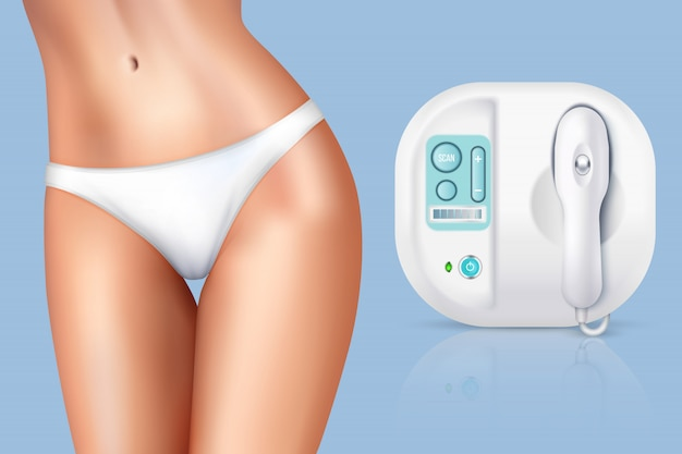 Depilation laser hair removal woman composition Free Vector