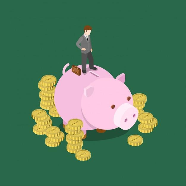 Deposit money monetary saving isometric concept   illustration. businessman stands on big piggy bank moneybox investor making decision Free Vector