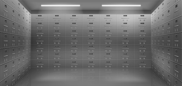 Deposit safe boxes in vault realistic vector Free Vector