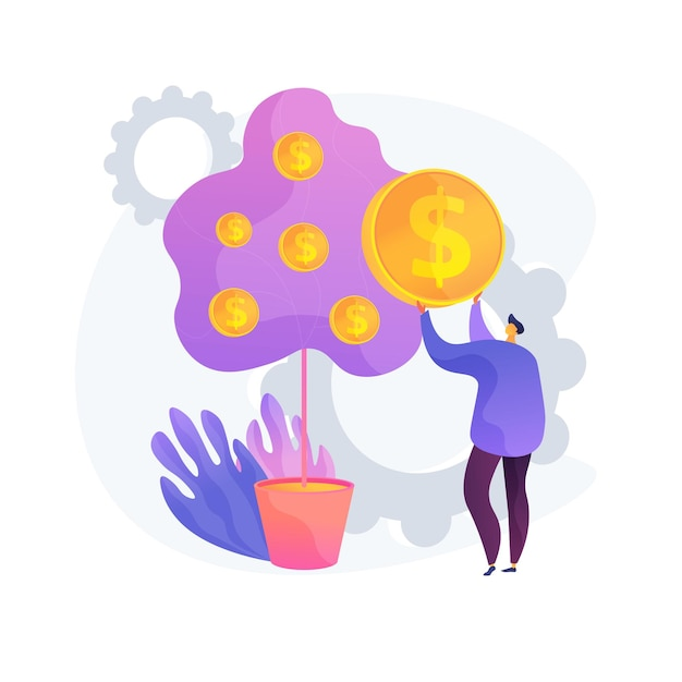 Deposit withdrawal. bank client, taking loan. money lending, return on investment, salary payment. banker, depositor plucking coins from tree. Free Vector