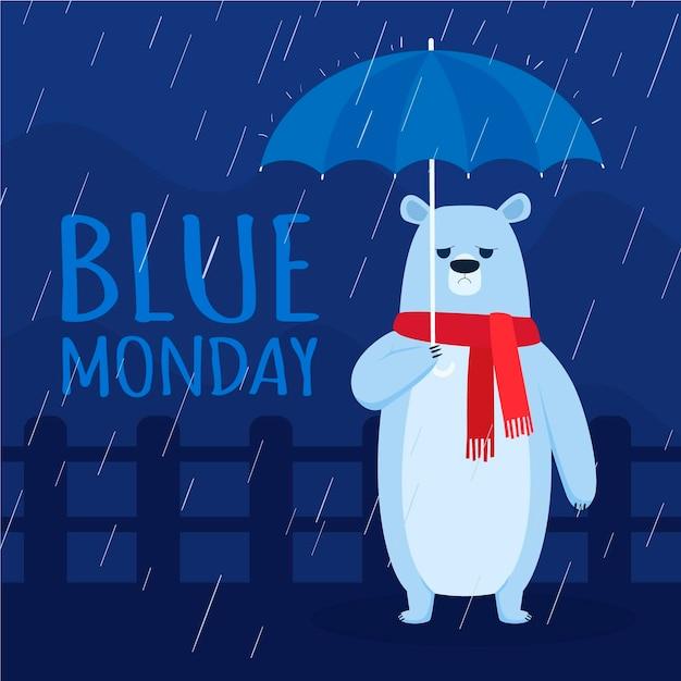 Orso depresso il lunedì blu Vettore gratuito