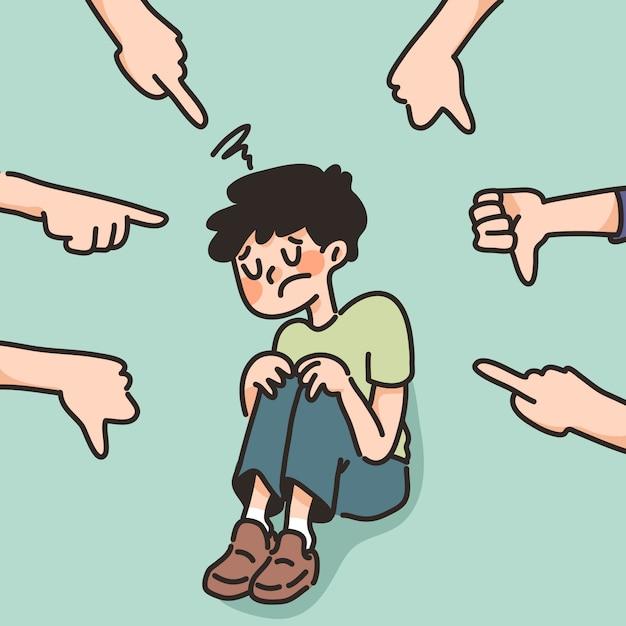우울 소년 슬픈 실패 영감 귀여운 만화 일러스트 실망 프리미엄 벡터