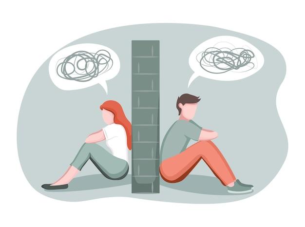石の壁で割った落ち込んだ男女 Premiumベクター