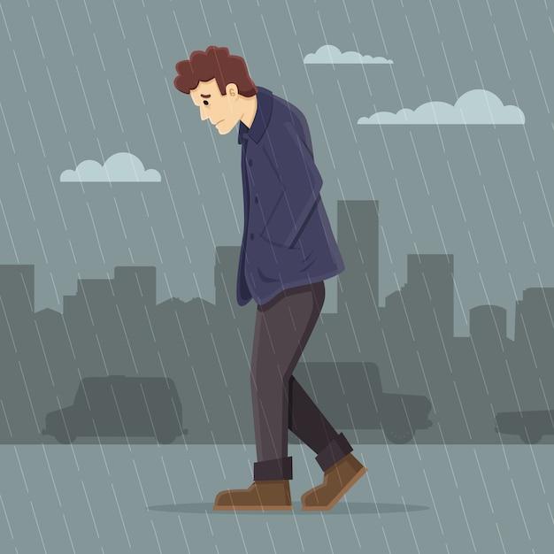 Depressed man walking in the rain Premium Vector