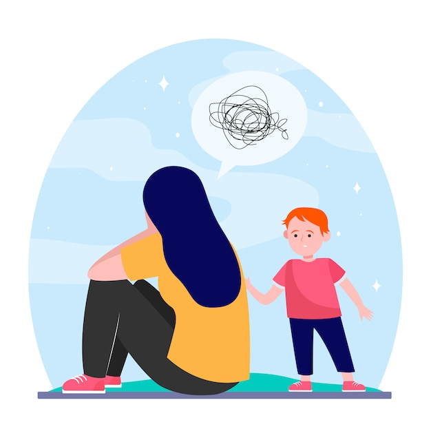Depressed mother and little son Free Vector
