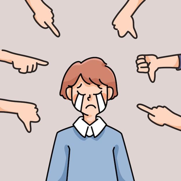 우울 사람 슬픈 실패 영감 귀여운 만화 일러스트 실망 프리미엄 벡터
