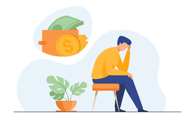 Depressed sad man thinking over financial problems Free Vector