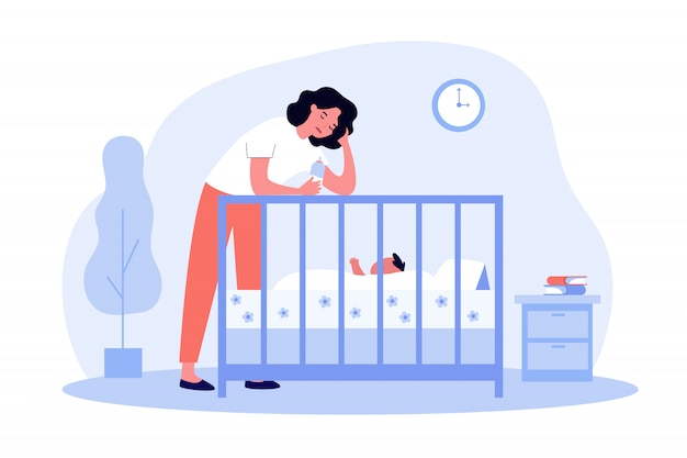 Depressed tired mom giving bottle to baby Premium Vector
