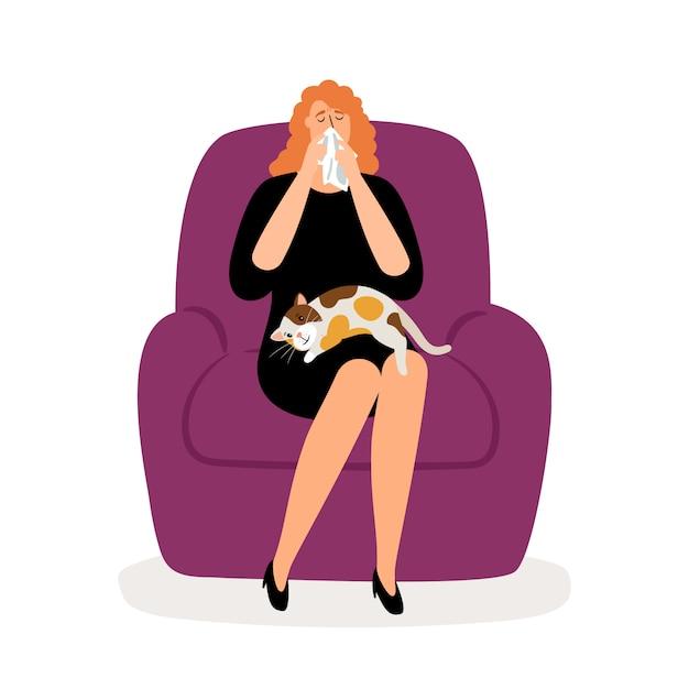 落ち込んでいる女性と猫 Premiumベクター
