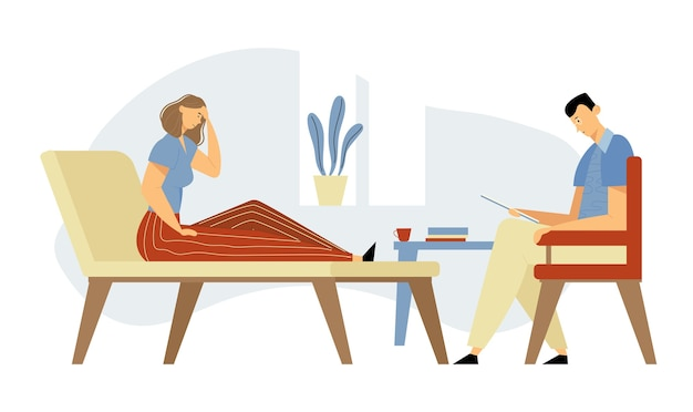 専門家の助けのための心理学者の任命でソファに横たわっているクリニックの落ち込んでいる女性のクライアント。医師、スペシャリストが心の健康問題について患者と話します。漫画フラットイラスト Premiumベクター
