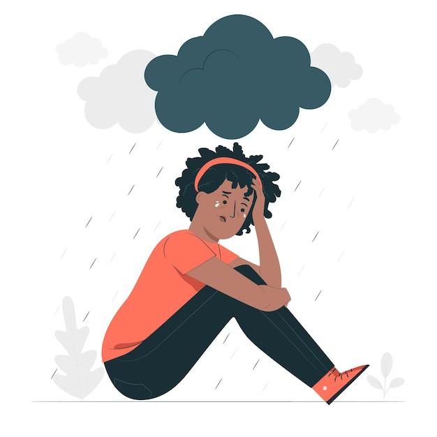 Иллюстрация концепции депрессии Бесплатные векторы