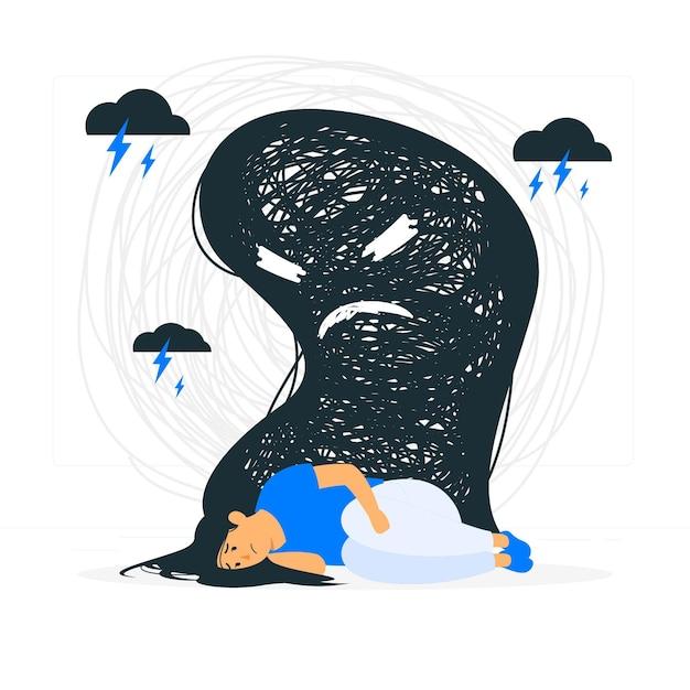 Illustrazione di concetto di depressione Vettore gratuito