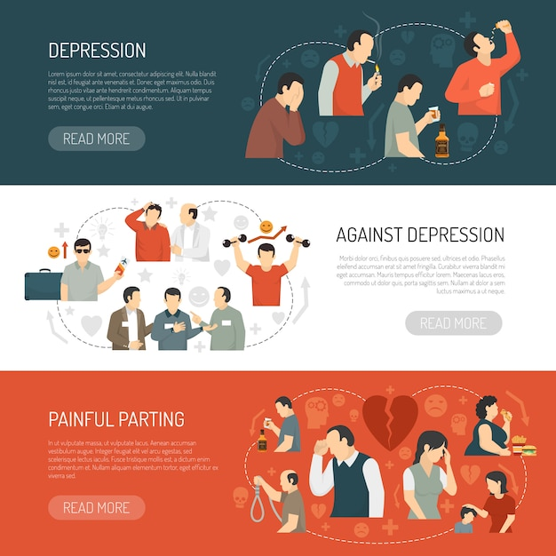 Depression horizontal banners Free Vector