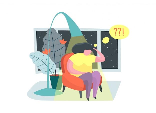 うつ病の孤独の欲求不満不眠症問題思考の概念。 Premiumベクター