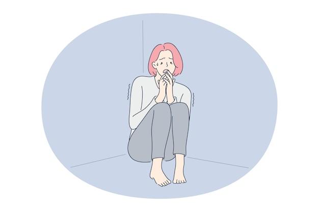 Depression, tears, grief concept. Premium Vector