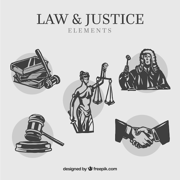 Derea y justiciaの要素を設定する 無料ベクター