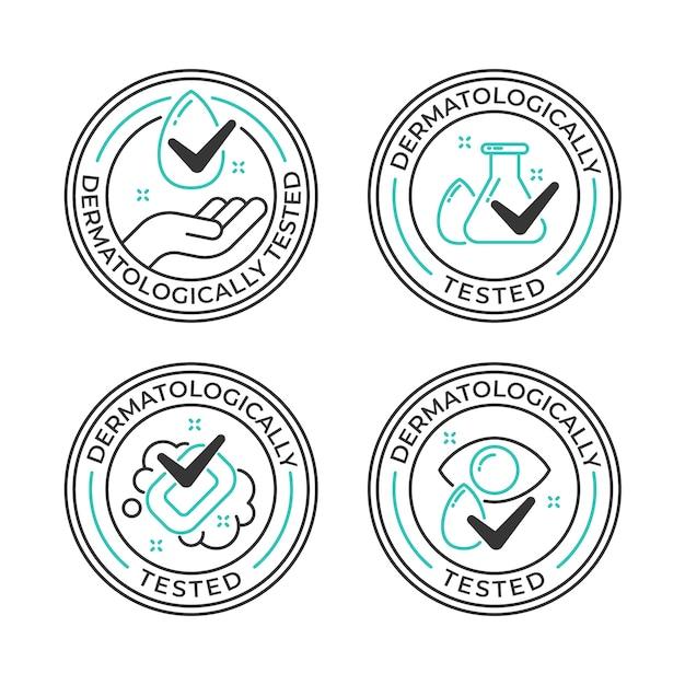 Дерматологически протестированный логотип Бесплатные векторы