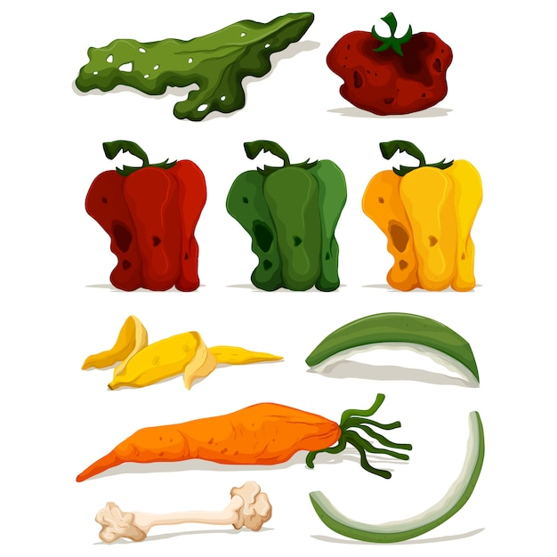 Descomposed vegetables collection Free Vector