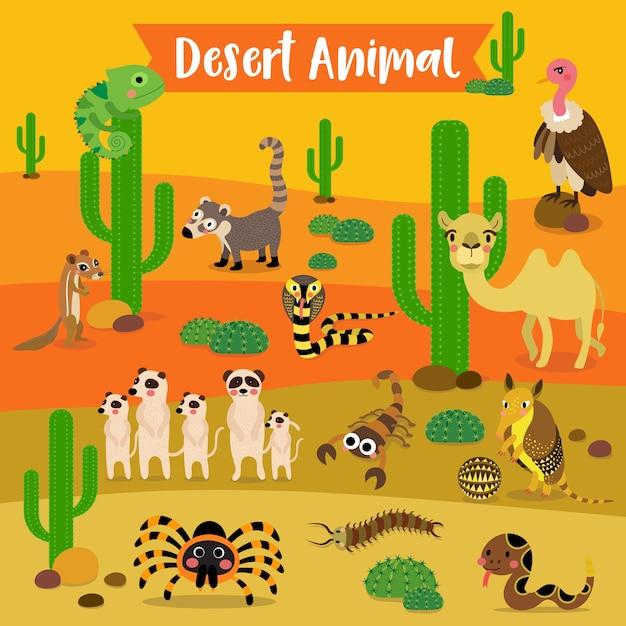 Desert animal cartoon Premium Vector