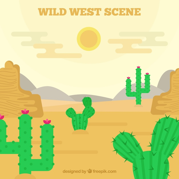 Desert background with cactus in flat\ design