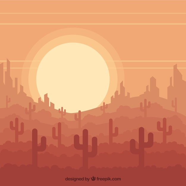 desert background with cactus in flat design vector free