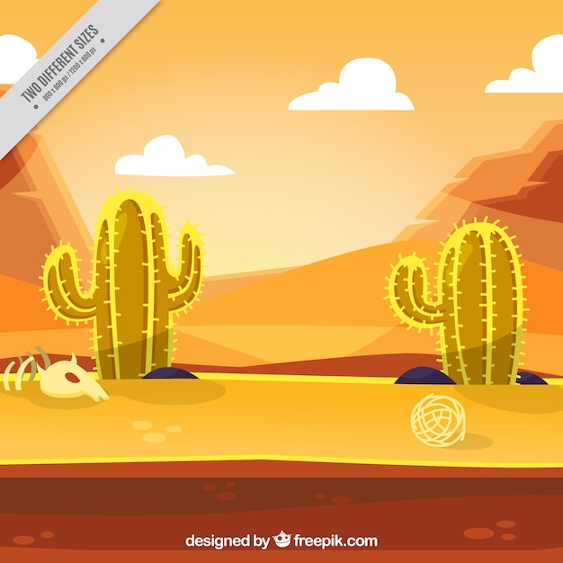 desert background with cactus vector free download