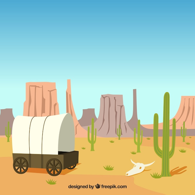 Desert background with carriage and rocky\ mountains