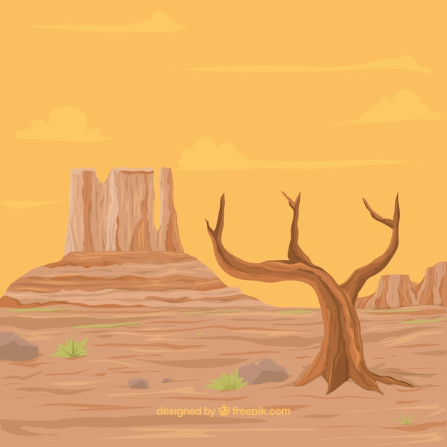 Desert background with dry tree