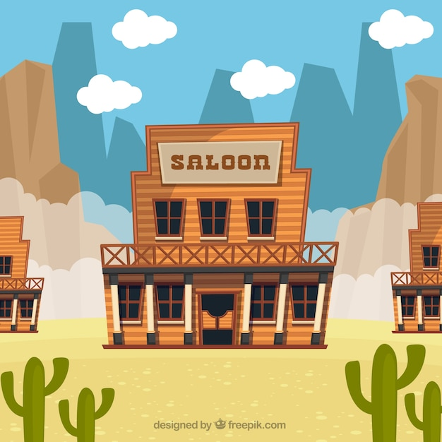 Desert background with saloon in flat\ design