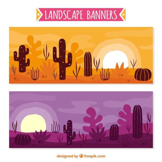 Desert banners, hand drawn